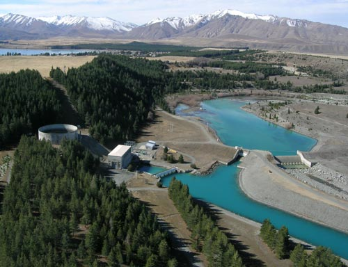 Tekapo A power station, with the lake and village beyond.